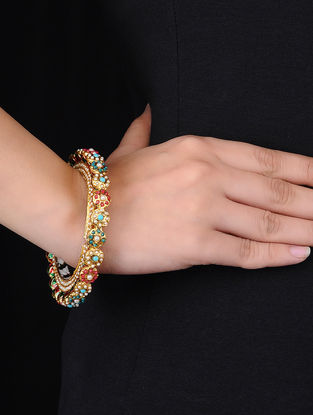 Multicolored Kundan-inspired Gold Tone Hinged Opening Bangle (Bangle Size - 2/4)