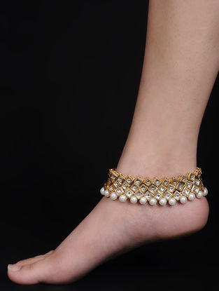 Kundan-inspired Gold Tone Anklets (Set of 2)