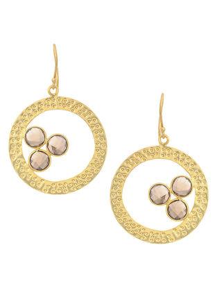 Brown Gold Tone Brass Earrings
