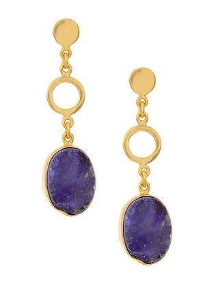 Purple Gold Tone Brass Earrings