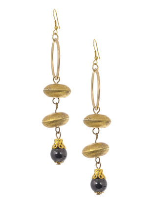 Black Gold Tone Brass Earrings
