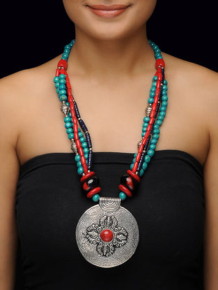 Turquoise-Red Beaded Necklace