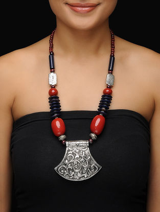 Blue-Red Beaded Necklace with Floral Motif Pendant