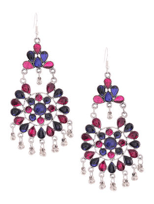 Pink-Blue Chandelier Earrings