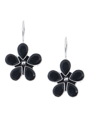 Black Earrings with Floral Design