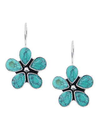 Turquoise Earrings with Floral Design