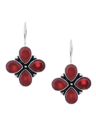 Red Earrings with Floral Design