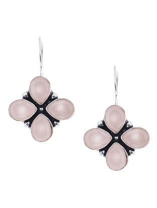 Pink Earrings with Floral Design