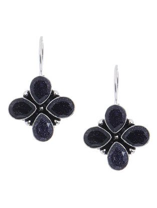 Blue Earrings with Floral Design
