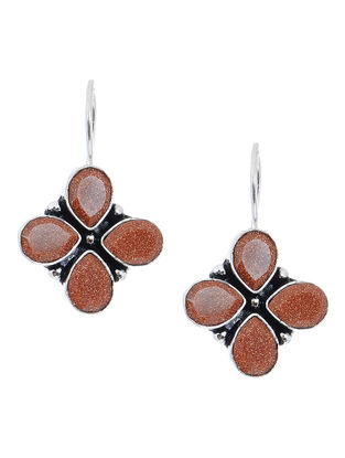 Brown Earrings with Floral Design