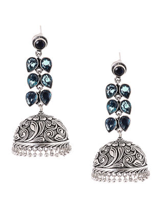 Classic Blue Jhumkis with Floral Motif