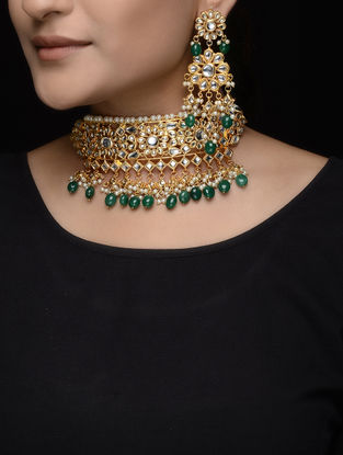 Green Beaded Kundan Inspired Necklace with a Pair of Earrings (Set of 2)