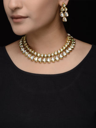 Kundan Inspired Necklace with a Pair of Earrings (Set of 2)