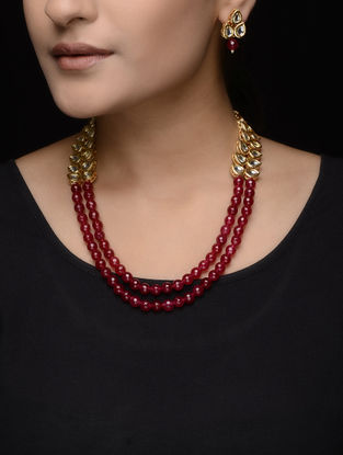 Red Beaded Kundan Inspired Necklace with a Pair of Earrings