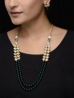 Green Beaded Kundan Inspired Necklace with a Pair of Earrings