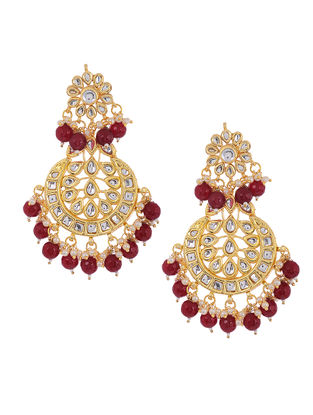 Red Beaded Kundan Inspired Earrings