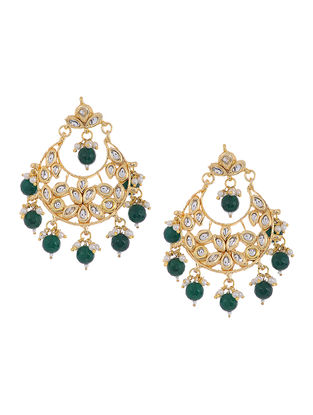 Green Beaded Kundan Inspired Earrings