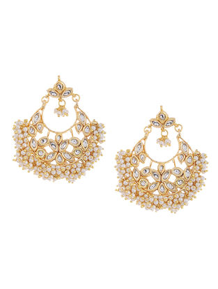 White Beaded Kundan Inspired Earrings