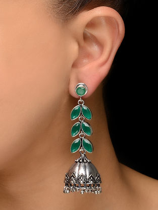 Green Silver Tone Jhumkis