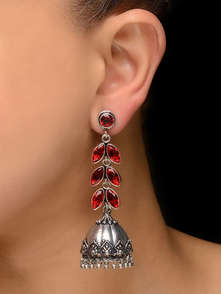 Red Silver Tone Jhumkis