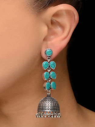 Turquoise Silver Tone Jhumkis