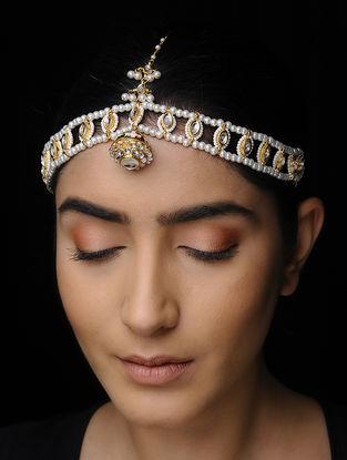 White Kundan-Inspired Pearl Beaded Matha Patti