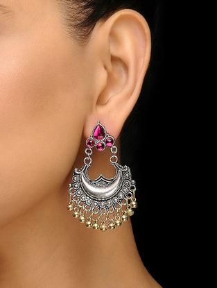 Pink Silver Tone Earrings