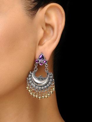 Purple Silver Tone Earrings
