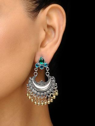 Green Silver Tone Earrings