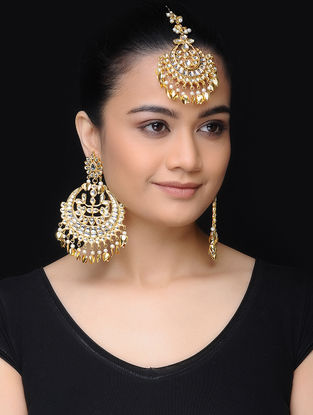 Classic Gold Tone Kundan Inspired Earrings with Mangtika (Set of 2)