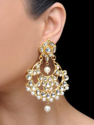 White Gold Tone Kundan Inspired Pearl Beaded Earrings