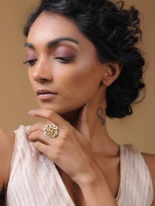 Classic Gold Tone Kundan-Inspired Pearl Beaded Adjustable Ring