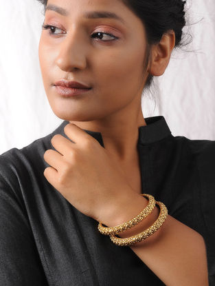 Gold Tone Handcrafted Bangles (Set of 2)