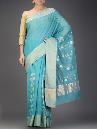 Blue Chanderi Saree with Zari Booti