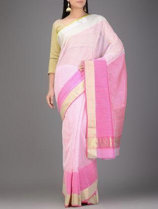 White-Pink Chanderi Saree with Zari Border