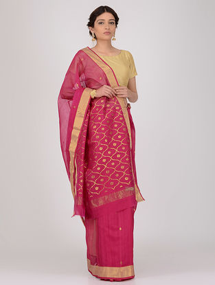 Pink Chanderi Saree with Zari