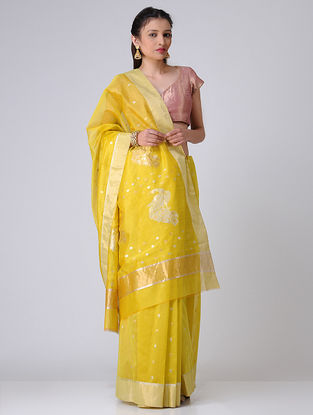 Yellow Chanderi Saree with Zari