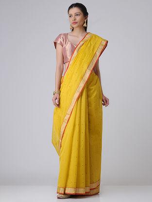Yellow-Red Chanderi Saree with Zari
