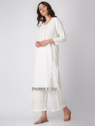 White Cotton Kurta with Gota Patti