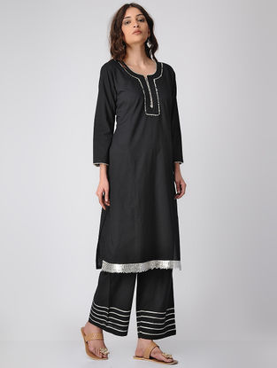 Black Cotton Kurta with Gota Patti
