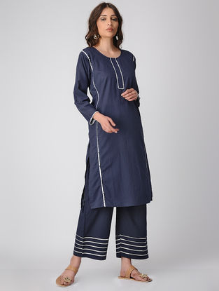 Blue Cotton Kurta with Gota Patti
