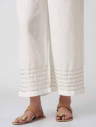 White Tie-up Waist Cotton Palazzos with Gota Patti