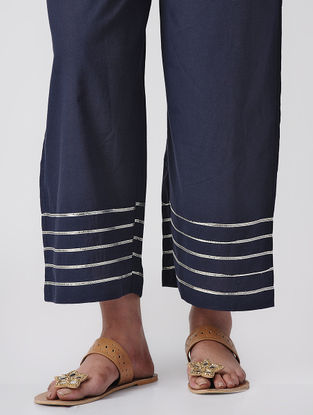 Blue Tie-up Waist Cotton Palazzos with Gota Patti