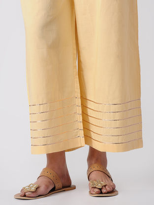 Beige Tie-up Waist Cotton Palazzos with Gota Patti