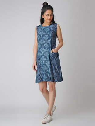 Indigo Dabu-printed Cotton Dress