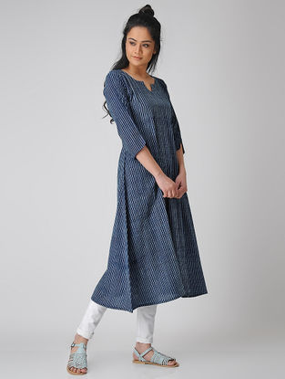 Indigo Dabu-printed Cotton Dress/Kurta