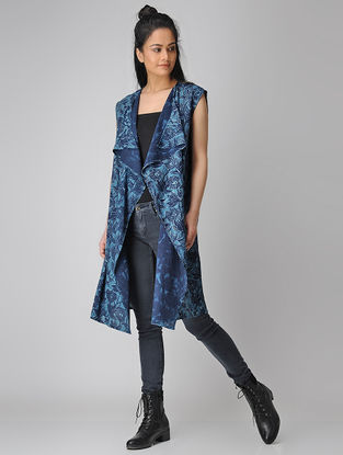 Indigo Dabu-printed Cotton Overlay Jacket
