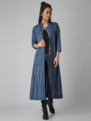 Indigo Dabu-printed Cotton Jacket/Kurta