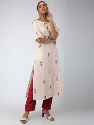 Ivory Block-printed Cotton Kurta