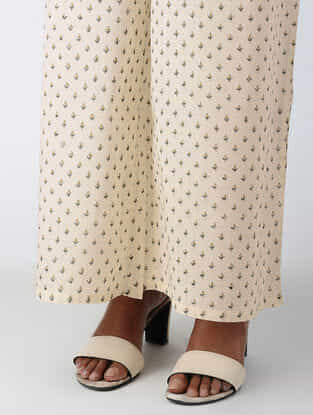 Ivory Block-printed Tie-up Waist Cotton Palazzos